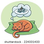 orange fat cat dreaming with a... | Shutterstock .eps vector #224331433