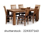 wooden brown table and six... | Shutterstock . vector #224337163