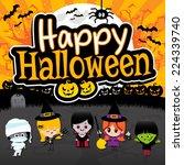 happy halloween text banner on...   Shutterstock .eps vector #224339740