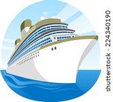 cruise ship sea holidays vector ... | Shutterstock .eps vector #224340190
