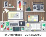 flat design vector illustration ... | Shutterstock . vector #224362060