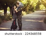family and soldier in a...   Shutterstock . vector #224368558