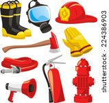 fire fighter elements set...   Shutterstock .eps vector #224386903