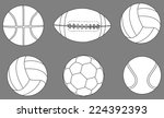collection of sports balls... | Shutterstock .eps vector #224392393