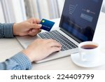 man doing online shopping with... | Shutterstock . vector #224409799