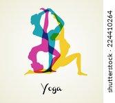 vector illustration of yoga... | Shutterstock .eps vector #224410264