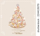 christmas tree with golden and... | Shutterstock .eps vector #224415070