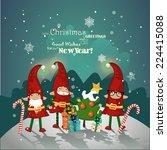 vintage christmas poster design ...   Shutterstock .eps vector #224415088
