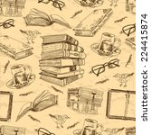 vintage books sketch seamless...