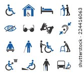 disabled people care help... | Shutterstock .eps vector #224416063