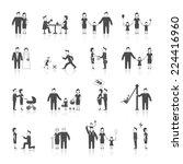 family figures black icons set... | Shutterstock .eps vector #224416960