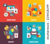 graphic design flat icons set... | Shutterstock .eps vector #224418199