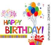 happy birthday card.... | Shutterstock .eps vector #224418514