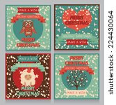 set of cute poscards for xmas... | Shutterstock .eps vector #224430064