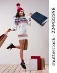 christmas shopping. pretty... | Shutterstock . vector #224432398