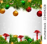 shiny christmas tree with gift... | Shutterstock .eps vector #224434228