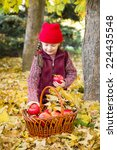 little girl in autumn park with ... | Shutterstock . vector #224435548