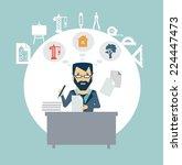 architect sitting documents... | Shutterstock .eps vector #224447473