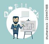 architect develops drawings... | Shutterstock .eps vector #224447488