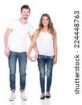 beautiful loving couple ... | Shutterstock . vector #224448763