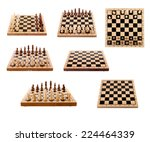 Set Of Chess Board And Pieces...