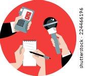 set of hands holding microphone ... | Shutterstock .eps vector #224466196