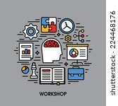 workshop flat line icons.... | Shutterstock .eps vector #224468176