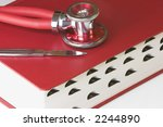 red manual with stethoscope and ... | Shutterstock . vector #2244890