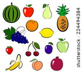 set of colorful fruits isolated ... | Shutterstock .eps vector #224494384