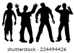 Black Silhouettes Of Zombies...