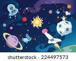 Cartoon Galaxy Scene Featuring...