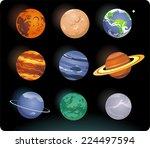 solar system cartoon planets   Shutterstock .eps vector #224497594