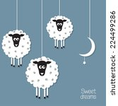 cute sheep and moon in paper...   Shutterstock .eps vector #224499286