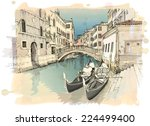 2 gondolas. ponte del mondo... | Shutterstock .eps vector #224499400