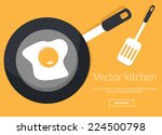 fried egg on pan in kitchen... | Shutterstock .eps vector #224500798