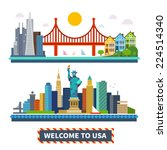welcome to usa. new york and... | Shutterstock .eps vector #224514340