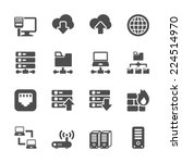 network and server icon set ...
