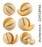 set of 6 cantaloupe melon images | Shutterstock . vector #224518966