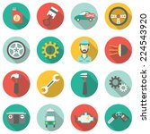 car service flat icons. vector... | Shutterstock .eps vector #224543920