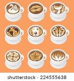 fun latte art vector... | Shutterstock .eps vector #224555638