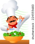 chef making a salad vector... | Shutterstock .eps vector #224555683
