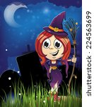 witch girl with broom in the...   Shutterstock .eps vector #224563699