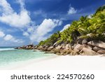 perfect white beach anse cocos... | Shutterstock . vector #224570260