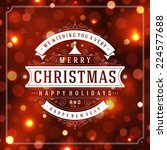 christmas retro typographic and ... | Shutterstock .eps vector #224577688