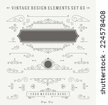 Vintage Vector Ornaments Decorations Design Elements. Flourishes calligraphic combinations retro design for Invitations, Posters, Badges, Logotypes and other design.  | Shutterstock vector #224578408