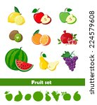 set of fresh fruit and fruit... | Shutterstock .eps vector #224579608