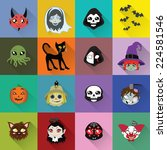 halloween long shadow icons | Shutterstock .eps vector #224581546