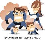 superhero family in trouble ... | Shutterstock .eps vector #224587570