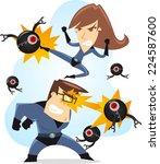 superhero parents fighting... | Shutterstock .eps vector #224587600