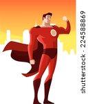 super hero showing his strength ... | Shutterstock .eps vector #224588869